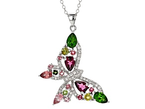Pre-Owned Multi Color Gemstone Rhodium Over Sterling Silver Pendant With Chain 2.65ctw