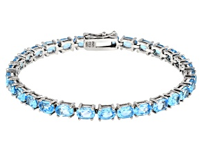 Pre-Owned Swiss Blue topaz Rhodium over Sterling Silver Tennis Bracelet 14.50ctw