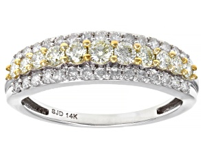 Pre-Owned Natural Yellow And White Diamond 14K White Gold Band Ring 0.75ctw
