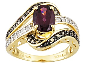Pre-Owned Grape Color Garnet 10k Yellow Gold Ring 1.49ctw