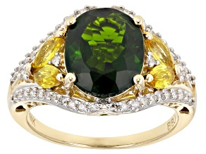Pre-Owned Chrome Diopside, Yellow Sapphire and White Diamond 14k Yellow Gold Ring 4.57ctw