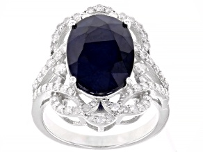Pre-Owned Blue Sapphire Rhodium Over Sterling Silver Ring 6.57ctw