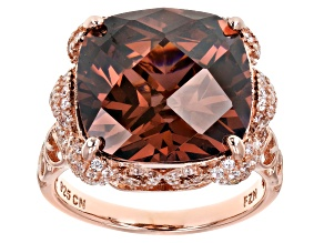 Pre-Owned Pink & White Cubic Zirconia 18K Rose Gold Over Sterling Silver Statement Ring 18.44ctw