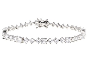 Pre-Owned White Cubic Zirconia Rhodium Over Sterling Silver Tennis Bracelet 11.15ctw
