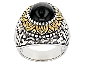 Pre-Owned Black Onyx Silver & 18K Gold Over Silver Two-Tone Ring