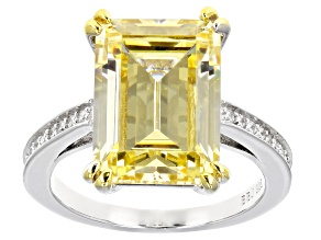 Pre-Owned Yellow And White Cubic Zirconia Rhodium Over Sterling Silver Ring 6.48ctw