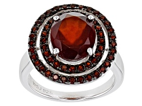 Pre-Owned Hessonite Garnet Rhodium Over Sterling Silver Ring 4.83ctw