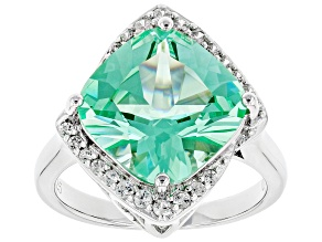 Pre-Owned Green Lab Created Spinel Rhodium Over Silver Ring 7.37ctw