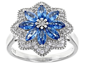Pre-Owned Blue Lab Created Spinel and White Cubic Zirconia Rhodium Over Sterling Silver Ring 2.36ctw