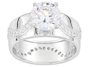 Pre-Owned Bella Luce ® 3.93ctw Dillenium ™ Round, Rhodium Over Sterling Silver Ring