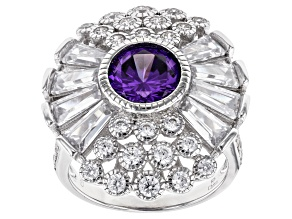 Pre-Owned Purple And White Cubic Zirconia Rhodium Over Sterling Silver Ring 7.25ctw