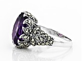 Pre-Owned Purple amethyst rhodium over sterling silver ring 4.89ct