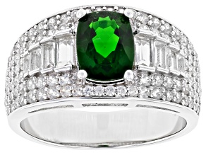 Pre-Owned Green Chrome Diopside Rhodium Over Silver Ring 2.80ctw