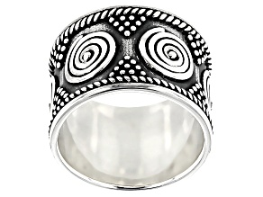 Pre-Owned Oxidized Sterling Silver African Inspired Spiral Tribal Design Band Ring