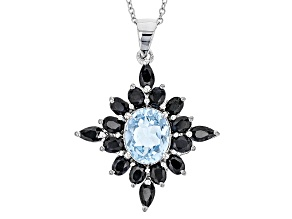 Pre-Owned Sky Blue Topaz Sterling Silver Pendant With Chain 6.50ctw