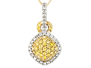 Pre-Owned Natural Yellow And White Diamond 14k Yellow And White Gold Pendant .85ctw