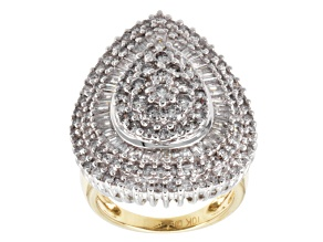 Pre-Owned Diamond 10k Gold Two Tone Ring 3.00ctw