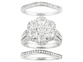 Pre-Owned diamond 10k white gold ring set of 3 3.00ctw