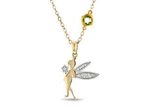 Pre-Owned Enchanted Disney Tinker Bell Pendant With Chain Diamond & Tourmaline 10K Yellow & White Go