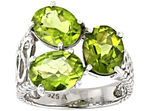 Pre-Owned Peridot Rhodium Over Sterling Silver 3-Stone Ring  5.00ctw