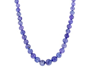 Pre-Owned Tanzanite Bead Sterling Silver Necklace 130ctw