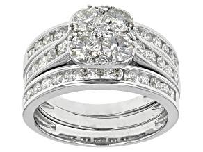Pre-Owned White Diamond 14k White Gold Ring Set Of 3 2.00ctw