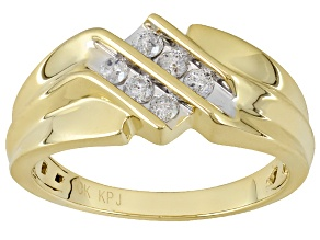 Pre-Owned White Diamond 10k Yellow Gold Gents Ring .30ctw