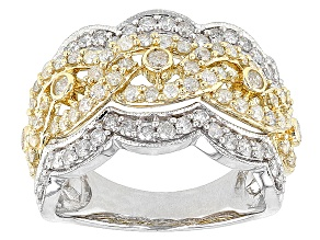 Pre-Owned Diamond 10k Two-Tone Gold Ring 1.10ctw