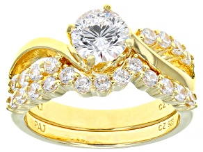 Pre-Owned Cubic Zirconia 18k Yellow Gold Over Silver Ring With Band 2.93ctw