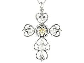 Pre-Owned Fabulite Strontium Titanate and white zircon rodium over silver cross pendant 3.28ctw.