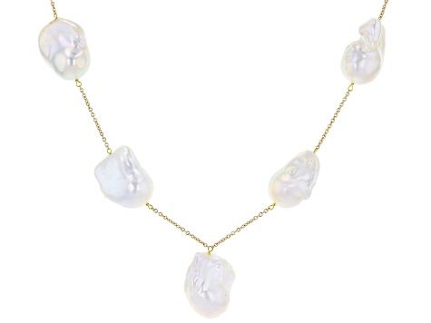 Pre-Owned White Cultured Freshwater Baroque Pearl 14k Yellow Gold Over Sterling Silver Necklace 13-1