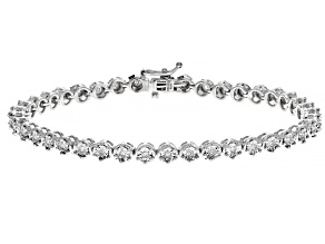 Pre-Owned White Diamond Rhodium Over Sterling Silver Bracelet 0.35ctw