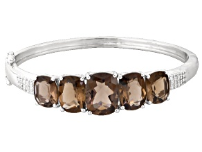 Pre-Owned Brown Brazilian Smoky Quartz Rhodium Over Sterling Silver Bangle Bracelet 24.79ctw