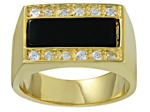 Pre-Owned Bella Luce® Diamond Simulant & Black Onyx 18k Gold Over Silver Mens Ring