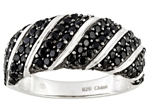 Pre-Owned Black Spinel Rhodium Over Sterling Silver Ring 2.00ctw
