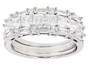 Pre-Owned Asshcer Cut White Cubic Zirconia Rhodium Over Sterling Silver Rings-Set of 3 3.54ctw