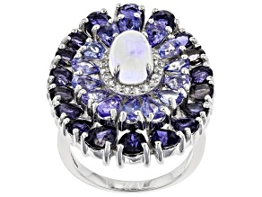 Pre-Owned Multi Gemstone Rhodium Over Silver Ring 7.73ctw
