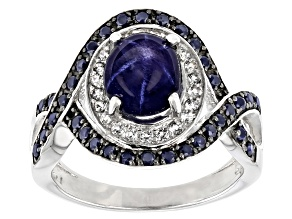 Pre-Owned Blue Star Sapphire Rhodium Over Sterling Silver Ring 3.55ctw