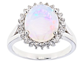 Pre-Owned Multi-color Opal Rhodium Over Silver Ring .48ctw