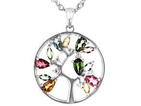 Pre-Owned Multi Tourmaline Rhodium Over Sterling Silver Tree Of Life Pendant W/Chain 1.48ctw
