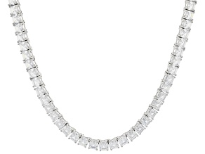 Pre-Owned White Cubic Zirconia Rhodium Over Sterling Silver Asscher Cut Tennis Necklace 63.25ctw
