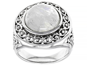 Pre-Owned White rainbow moonstone rhodium over sterling silver solitaire ring