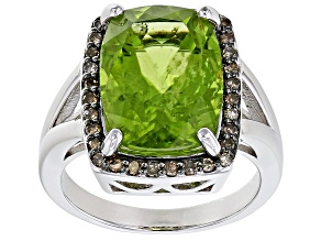 Pre-Owned Green peridot rhodium over silver ring 5.48ctw