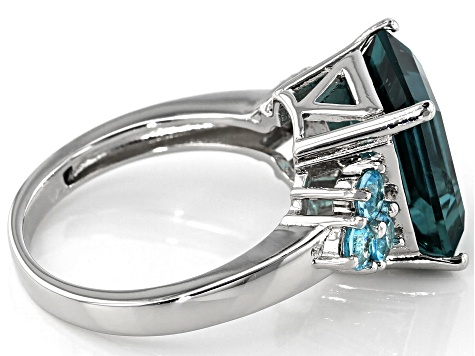 Pre-Owned Teal fluorite rhodium over sterling silver ring 6.80ctw