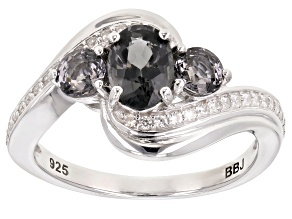 Pre-Owned Platinum Color Spinel rhodium over silver ring 1.13ctw