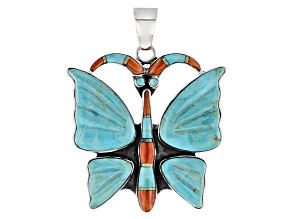 Pre-Owned Blue Turquoise Sterling Silver Butterfly Pendant