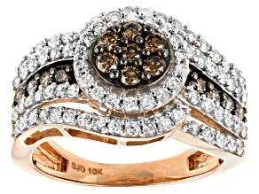 Pre-Owned Champagne & White Diamond 10K Rose Gold Cluster Ring 1.20ctw