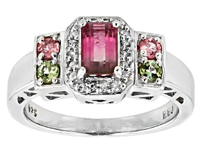 Pre-Owned Bi-Color Tourmaline Sterling Silver Ring .84ctw
