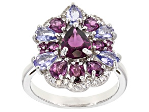 Pre-Owned Raspberry color rhodolite rhodium over silver ring 3.59ctw