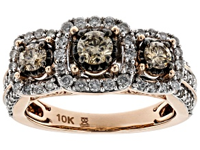 Pre-Owned Champagne And White Diamond 10k Rose Gold Ring 1.25ctw